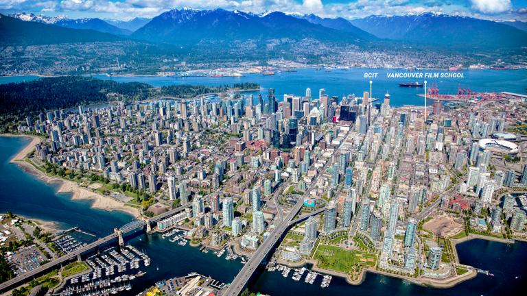 Aerial photo of Vancouver with VFS and BCIT campuses plotted