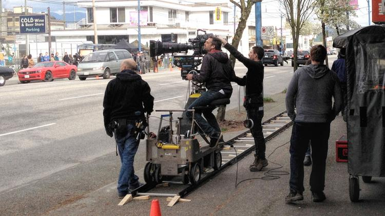 Film being shot on location in Vancouver
